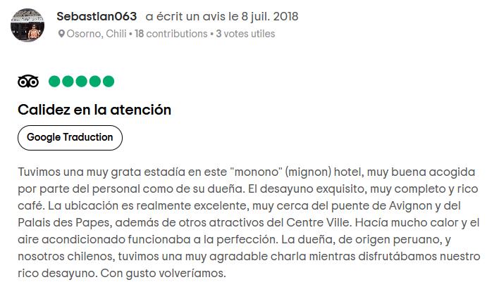 Tripadvisor Calidez de la Atencion 2018-07